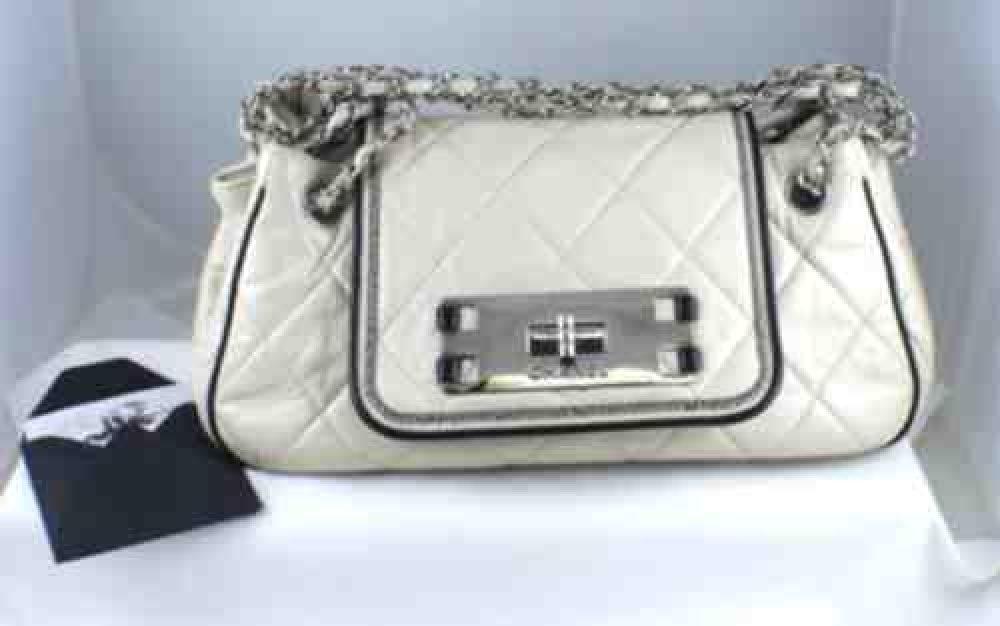 6a80a88f832c Chanel White Leather Accordion Flap Handbag - GemandLoan