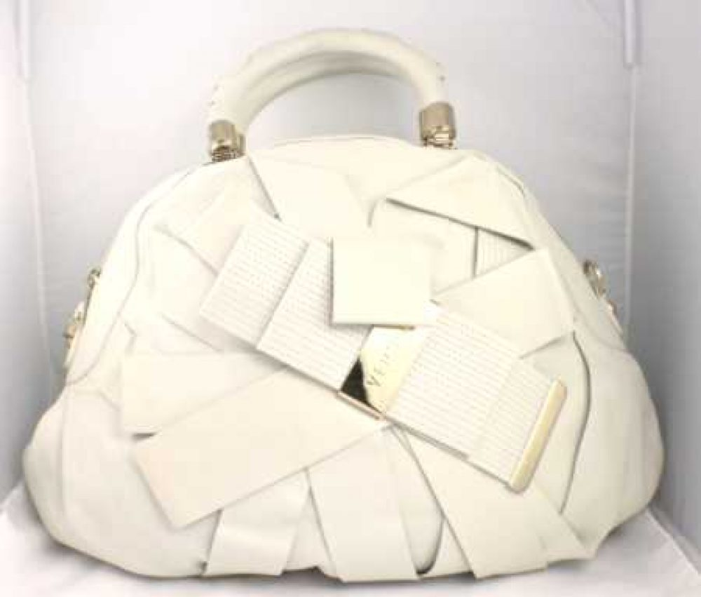 Versace Venita Bow Satchel Creme Off White Bag