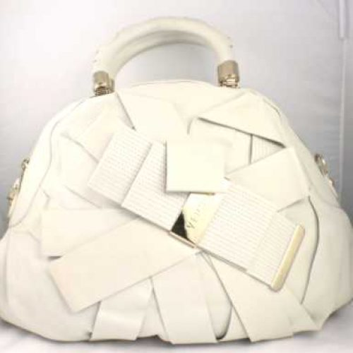 Versace Venita Bow Satchel Creme Off White Bag