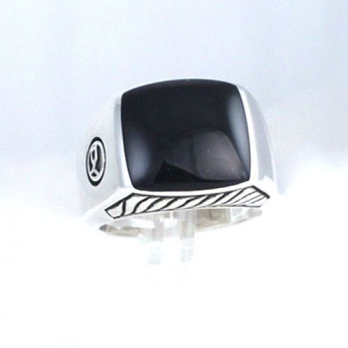 David Yurman Sterling Silver and Onyx Men's Ring