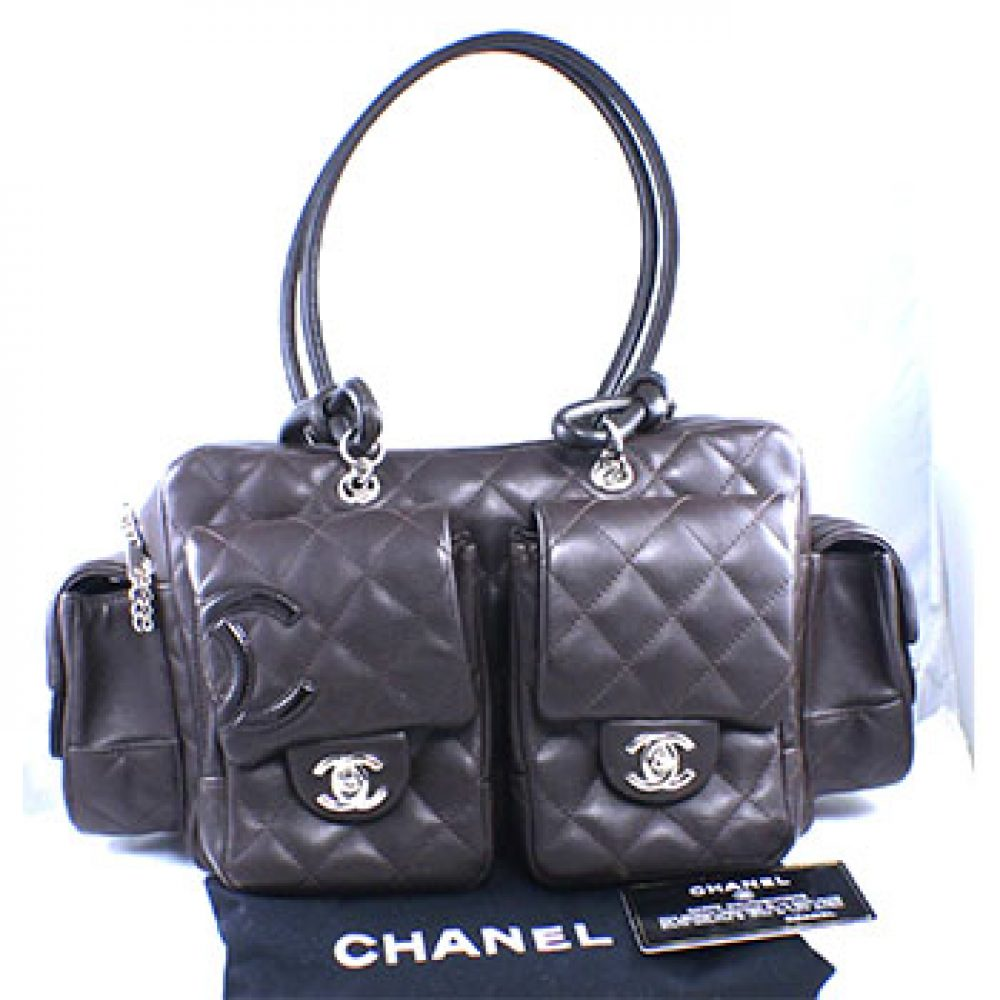 Chanel Dark Brown Leather Ligne Cambon Reporter Bag
