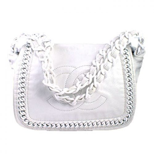 Chanel White Patent Leather Luxe Ligne Resin Chain Flap Bag