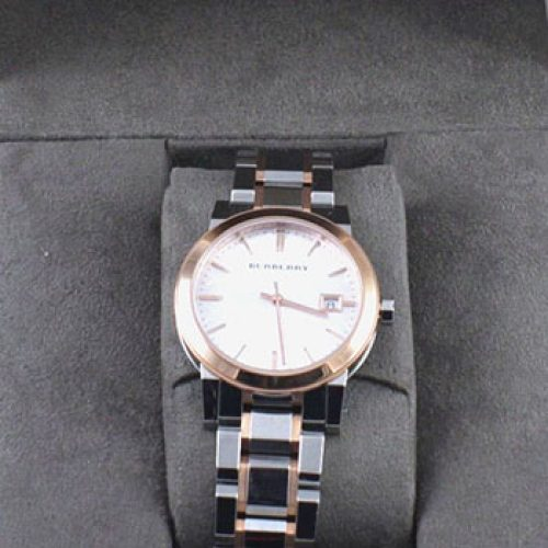 Burberry Large Check Two Tone Stainless Steel Bracelet Watch