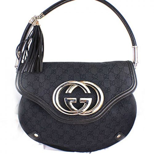Gucci GG Black Britt Fringle Tassel Bag