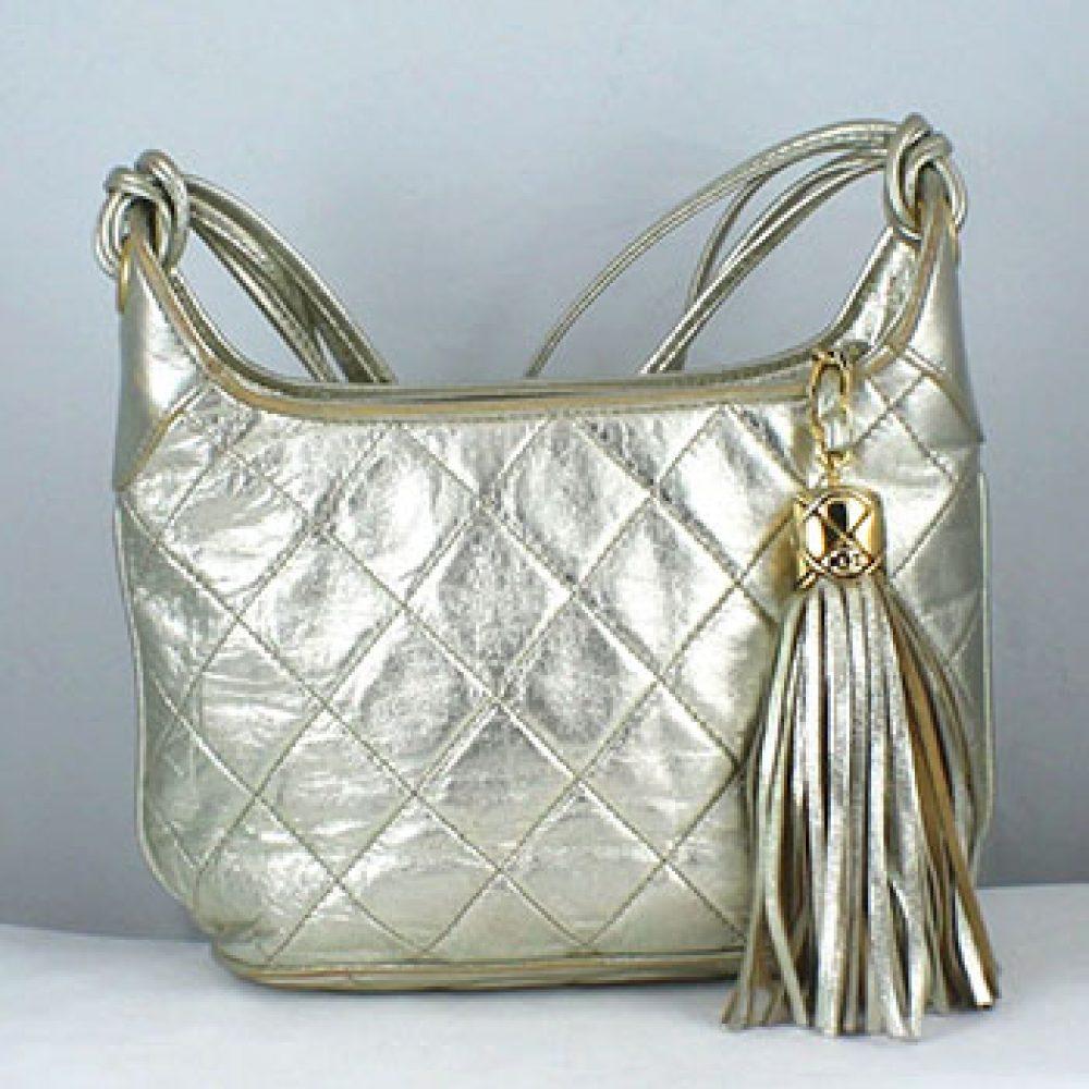Vintage Chanel Metallic Quilted Shoulder Bag
