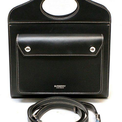 Burberry Black Mini Leather Pocket Shoulder Handbag