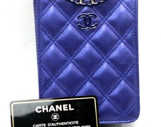 Chanel Blue Quilted Leather Calf Skin CC Phone Holder Crossbody Bag