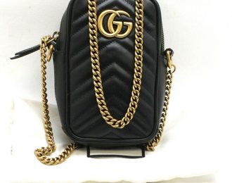 Gucci GG Mini Marmont Chain Bag Black Leather Chevron Crossbody Shoulder Bag