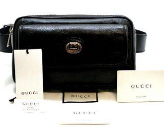 Gucci GG Logo Belt Bag in Black Leather 598080