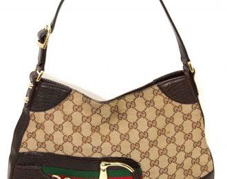 Gucci Horsebit GG Canvas Handbag