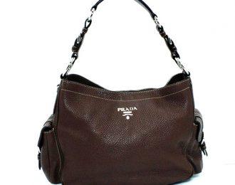Prada Side Pocket Calfskin Hobo Shoulder Handbag Brown