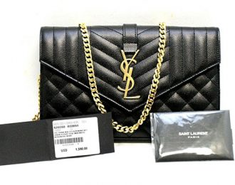 Saint Laurent YSL Chain Wallet Nero in Black Leather With Gold Hardware