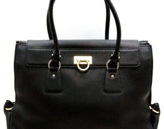 Salvatore Ferragamo Lotty Black Leather Shoulder Handbag Large Tote