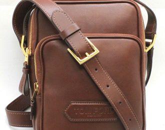 Tom Ford Brown Leather Messenger Crossbody Shoulder Bag for Men